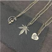 歐美日韓原宿嘻哈hiphop音樂節復古麻葉愛心楓葉十字架項鏈  韓風物語