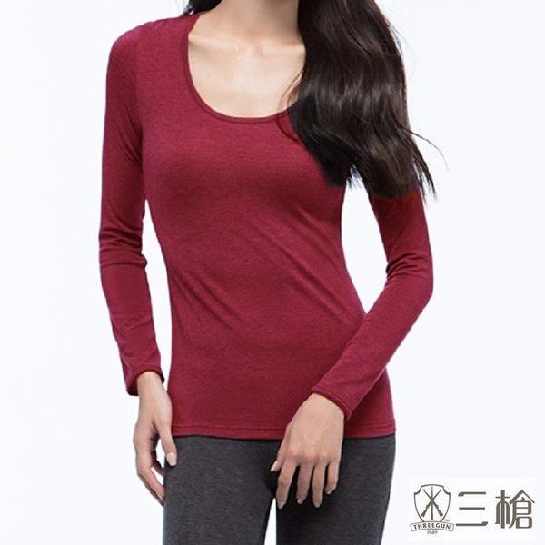 三槍牌 2件組紫紅色時尚經典台灣製女長袖TG-HEAT發熱衣