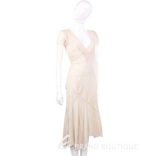 ANNA MOLINARI 米白色抓褶V領短袖洋裝 0530091-20