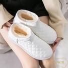 雪地靴女冬季防滑一腳蹬棉鞋加厚防水短靴面包鞋【繁星小鎮】