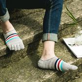 全棉五指襪子男純棉短筒船襪低筒淺口復古防臭隱形潮男船型五指襪免運直出 交換禮物