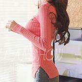 針織衫 打底衫 復古外套修身顯瘦側開叉圓領純色長袖毛衣