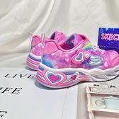 《7+1童鞋》小童 SKECHERS 302663NPKL 輕量 運動鞋 夢幻渲染 愛心電燈鞋 D951 粉色