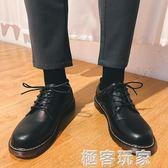 秋季黑色小皮鞋青少年配西裝男鞋圓頭大頭鞋韓版英倫馬丁靴潮學生 極客玩家