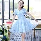 喜慶宴會向親甜美清新後拉鍊棉麻印花拼接網紗短袖公主裙洋裝 (粉紅  水藍)