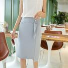 高腰中長版素色包臀雪紡一步裙(三色S-2XL可選)/設計家 ZY3299