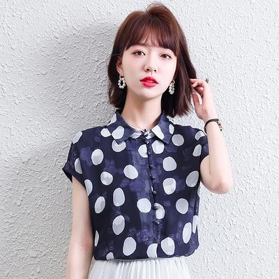 短版上衣~短袖襯衫~休閑氣質波點襯衫女小個子短袖襯衣N175E日韓屋