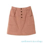 「Hot item」前排釦口袋剪裁迷你短裙 - earth music&ecology
