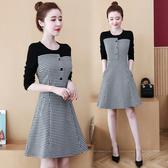 VK精品服飾 韓系大碼圓領拼接千鳥格收腰時尚長袖洋裝