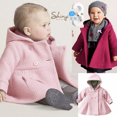 【TZ950】shiny藍格子-加厚緹花呢料氣質千金大衣外套。粉/紫紅 80.90.100