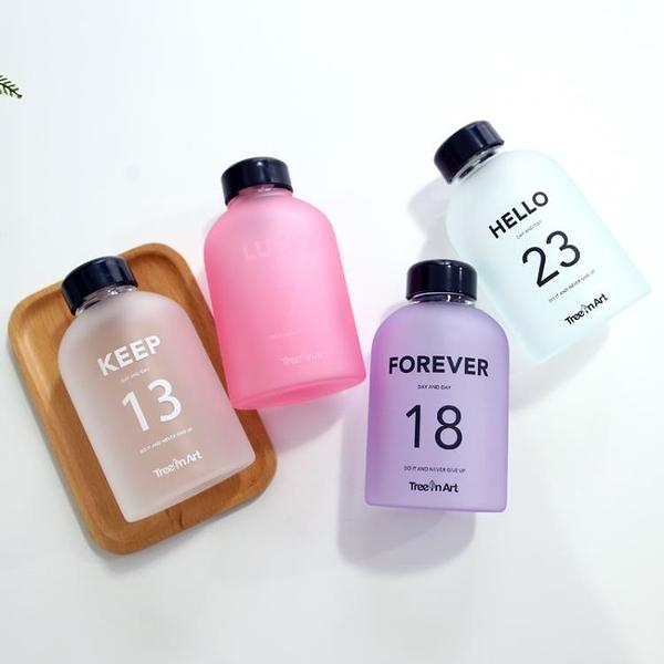 創意玻璃情侶學生禮物水杯子隨手杯耐高溫運動數字水瓶