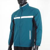 Mizuno [32TC158232] 男 平織 外套 合身版型 立領 運動 休閒 訓練 藍綠