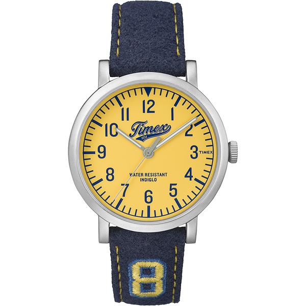 【TIMEX】天美時復刻University系列學院風手錶(黃/藍 TXT2P83400)