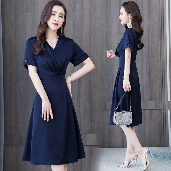 第二件4折 韓國風名媛藏青色純色V領長版修身顯瘦短袖洋裝