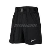 Nike 短褲 NSW Swoosh Shorts 黑 白 女款 梭織 工裝短褲 運動休閒 【PUMP306】 CJ3808-010