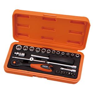 台灣製造2分26件棘輪扳手起子套筒組含滑動扳桿及延長桿