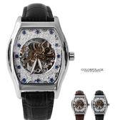 Valentino范倫鐵諾 經典酒桶自動上鍊機械不鏽鋼腕錶手錶 雙面鏤空 柒彩年代【NE1505】單支