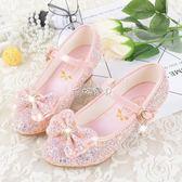 皮鞋 女童高跟鞋小公主皮鞋韓版小女孩單鞋冰雪奇緣鞋中大童水晶兒童鞋 珍妮寶貝