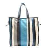 BALENCIAGA 巴黎世家 藍色條紋羊皮手提肩背包Bazar Shopper M Shopping Tote BRANDOFF