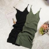 新款夏蕾絲拼接中長款修身開叉吊帶打底背心裙v領針織洋裝 卡布奇诺