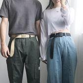 帆布腰帶帆布腰帶男士女士皮帶青年不含金屬韓版軍訓自動扣休閒牛仔褲戶外