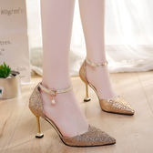 貓跟尖頭少女高跟鞋細跟一字扣亮片銀色女鞋百搭 黛尼時尚精品
