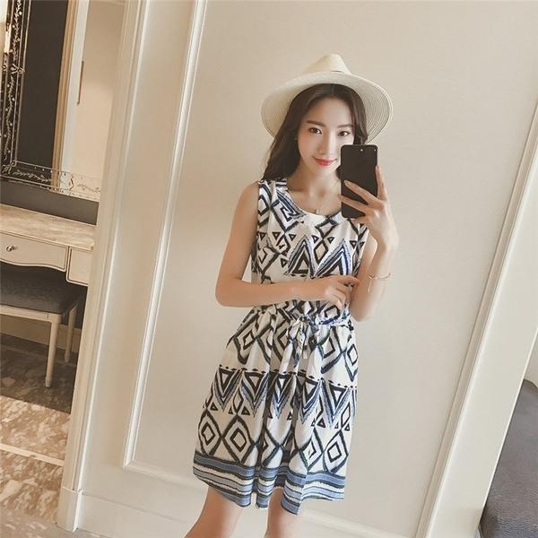 FINDSENSE G5 韓國時尚 無袖 幾何 圖案 連身裙 女裝