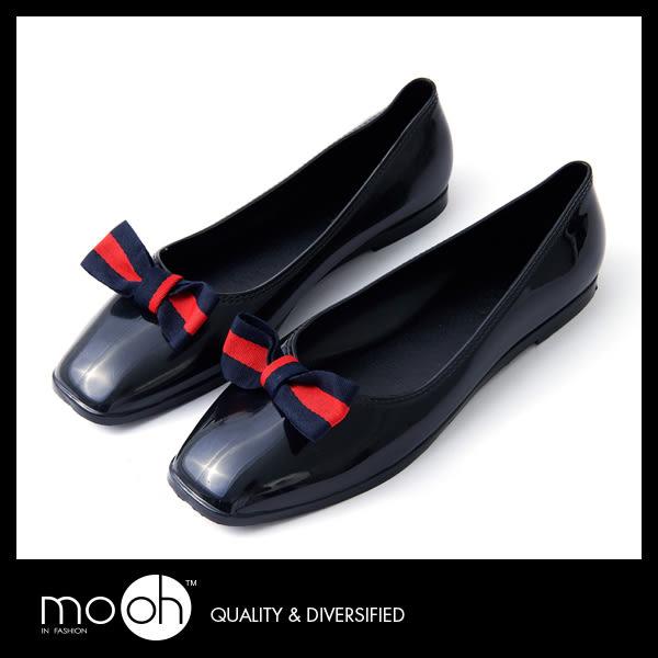 防水平底鞋 蝴蝶結 娃娃鞋 歐美拚色套腳方頭低筒雨鞋 mo.oh (歐美鞋款)