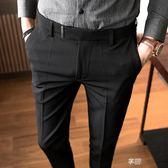 男士西褲薄款夏季修身九分小腳條紋商務閒閒西服褲子男垂感西裝褲  享購