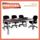 TSB-3x6E T3公分 烤銀柱腳會議桌 深胡桃 洽談桌 辦公桌 不含椅子 學校 公司 補習班 書桌