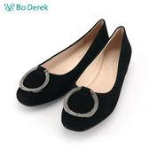 【Bo Derek 】鑽飾絨布娃娃鞋-黑色