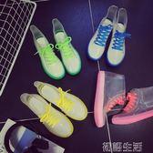 果凍透明防滑時尚雨鞋雨靴防水鞋膠鞋套鞋女短筒成人韓國可愛夏季 初語生活館