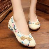 春季新款老北京布鞋女鞋坡跟牛筋底休閒亞麻透氣民族風女單鞋