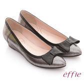effie 街頭甜美 全真皮立體蝴蝶結飾楔型鞋 香檳金