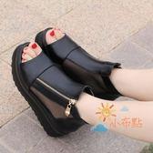 羅馬涼鞋女春夏季沙灘涼鞋鬆糕魚嘴鞋厚底女鞋百搭楔形涼鞋正韓高跟羅馬鞋子潮免運