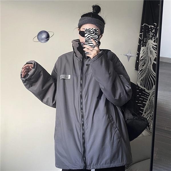 夾克 冬季外套女韓版羊羔絨寬松加厚休閒夾克棉衣棉服潮