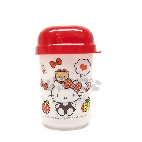〔小禮堂〕Hello Kitty 塑膠毛巾收納罐《紅.坐姿.小熊》多功能置物罐.銅板小物 4573135-57198