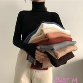 高領毛衣女秋裝韓版新款百搭純色修身顯瘦套頭高領保暖長袖針織毛衣女裝JUSTM春季新品