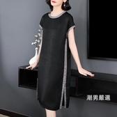 大尺碼洋裝大尺碼銅氨絲連身裙2018夏裝胖mm黑色氣質寬鬆名媛中長版裙子XL-5XL