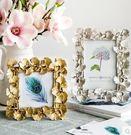現代美式復古創意金色葉子6寸婚紗照相框xx622【VIKI菈菈】