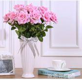 裝飾花 仿真玫瑰花套裝歐式假花玫瑰花客廳餐桌擺件花藝插花擺設家居裝飾  全館免運 MKS