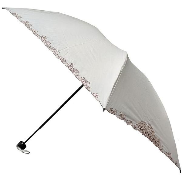 太陽城三折超輕玻纖黑膠純色刺繡花防紫外線防曬遮陽太陽傘晴雨傘