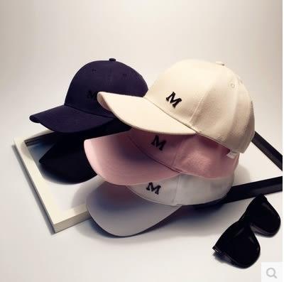 韓版M字母復古彎檐帽鴨舌帽棒球帽子男女防曬遮陽帽