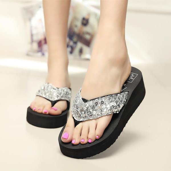 【TT】厚底拖鞋 時尚涼拖鞋 厚底高跟防滑拖鞋 亮片坡跟沙灘人字拖鞋