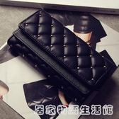 韓版新款女士錢包女包時尚復古鉚釘菱格三折皮夾大容量卡包零錢包  居家物語