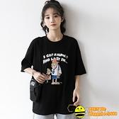 夏季新款短袖黑色t恤女卡通印花復古港風體恤學生純棉上衣潮【happybee】