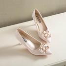 婚鞋女紅色高跟鞋細跟新款