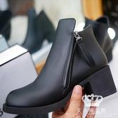 短靴 厚底粗跟女百搭側拉鏈中跟靴 艾米潮品館