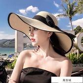 沙灘草帽子女夏天海邊大帽檐防曬遮陽出游度假百搭大沿涼帽太陽夏 萬客城