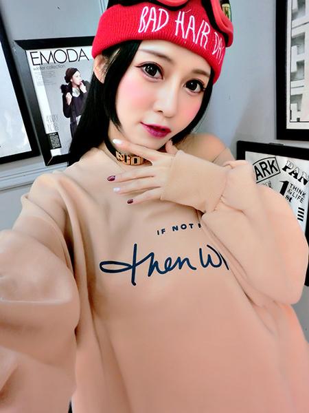克妹Ke-Mei【ZT57335】IFNOTNOW深V寬鬆蝙蝠袖厚刷毛T恤上衣